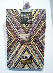 19. Original: $216. Acrylic and collage on wood panel. 17 x 10.75.