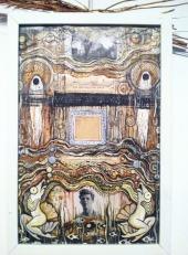 The Birdling Flies Away. Original: $216. Acrylic and collage. 17 x 11.5 handmade frame.