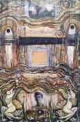 """The Birdling Flies Away"", acrylic, collage, pen and ink on wood panel, 17"" x 11.25"", $216"
